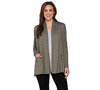 LOGO Lounge by Lori Goldstein French Terry Cardigan with Thermal Sleeves - A273386