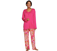 Carole Hochman Abstract Hydrangea Rayon Spandex 3 Pc Pajama Set - A273586