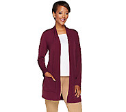 As Is Susan Graver Liquid Knit Open Front Cardigan with Pockets - A274186