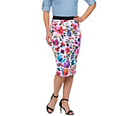 G.I.L.I. Regular Printed Floral Scuba Knit Pencil Skirt - A274386