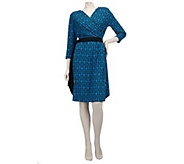 As Is Bob Mackies Fleur De Lis Print Dress with Self Belt & Ruching - A274686