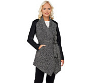 As Is Lisa Rinna Collection Faux Leather Sleeve Wrap Jacket - A277386