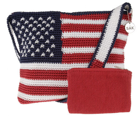 The Sak American Flag Tightweave Zip Top Handbag