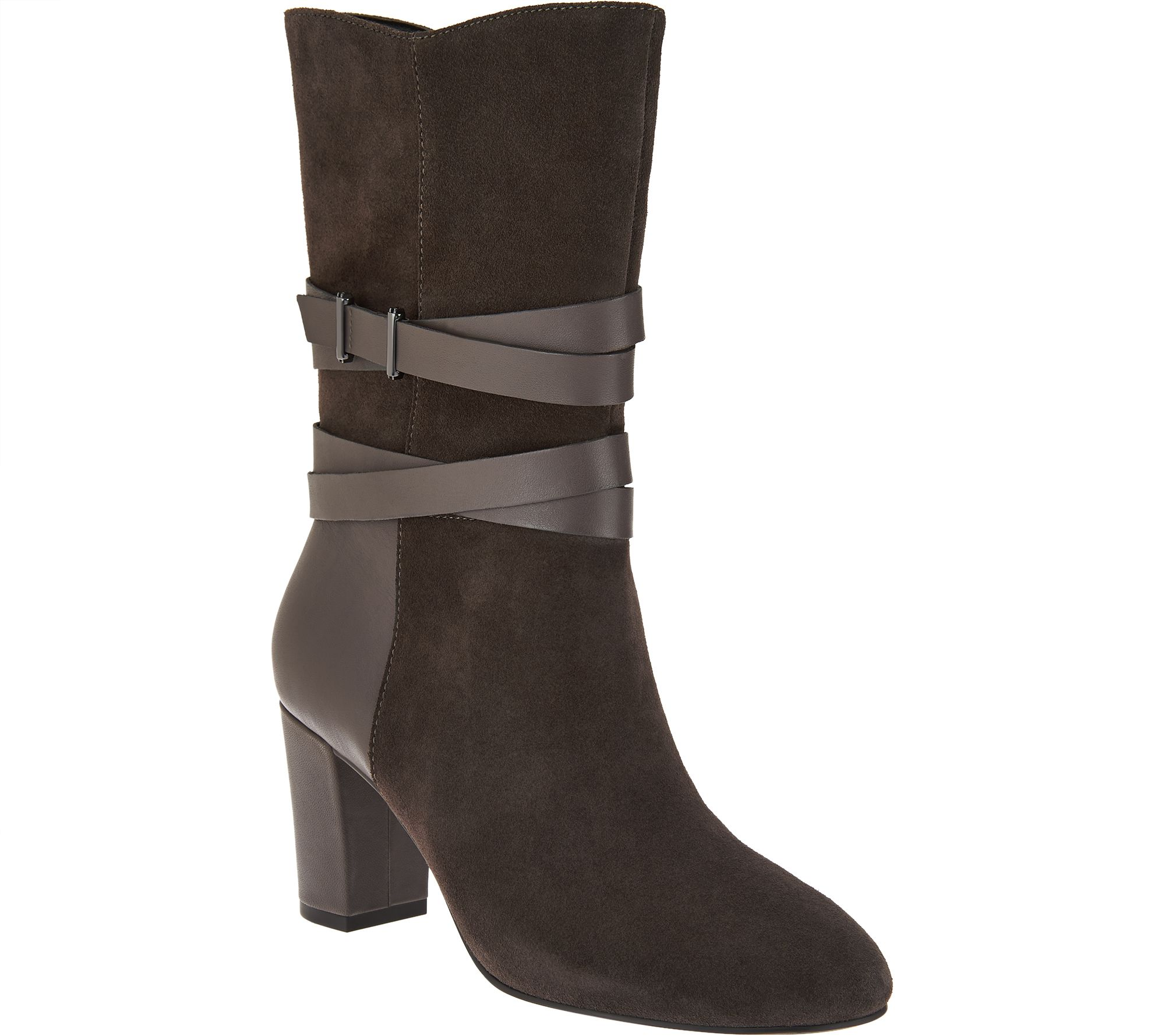 H By Halston Mid Calf Boots With Leather Strap Detail   Quinn   A280386