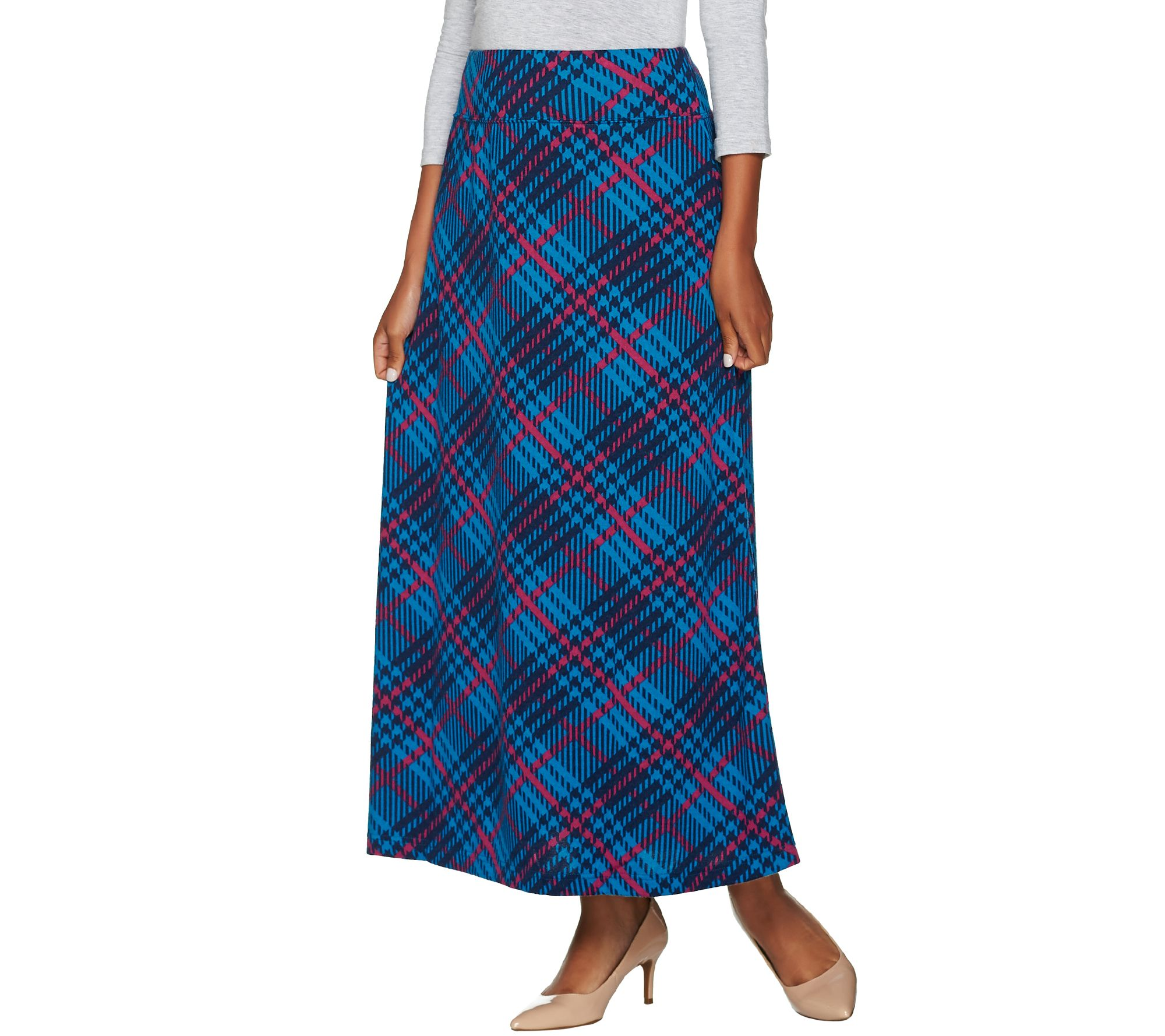 denim co plaid printed pull on maxi skirt page 1