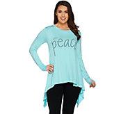Peace Love World Long Sleeve Knit Top with Asymmetric Hem - A285686
