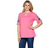 Quacker Factory Floral Embroidered Keyhole Neck Knit T-shirt - A289686