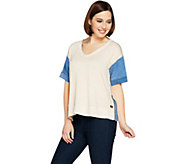 Peace Love World French Terry Short Sleeve Top w/ Zippers - A290286