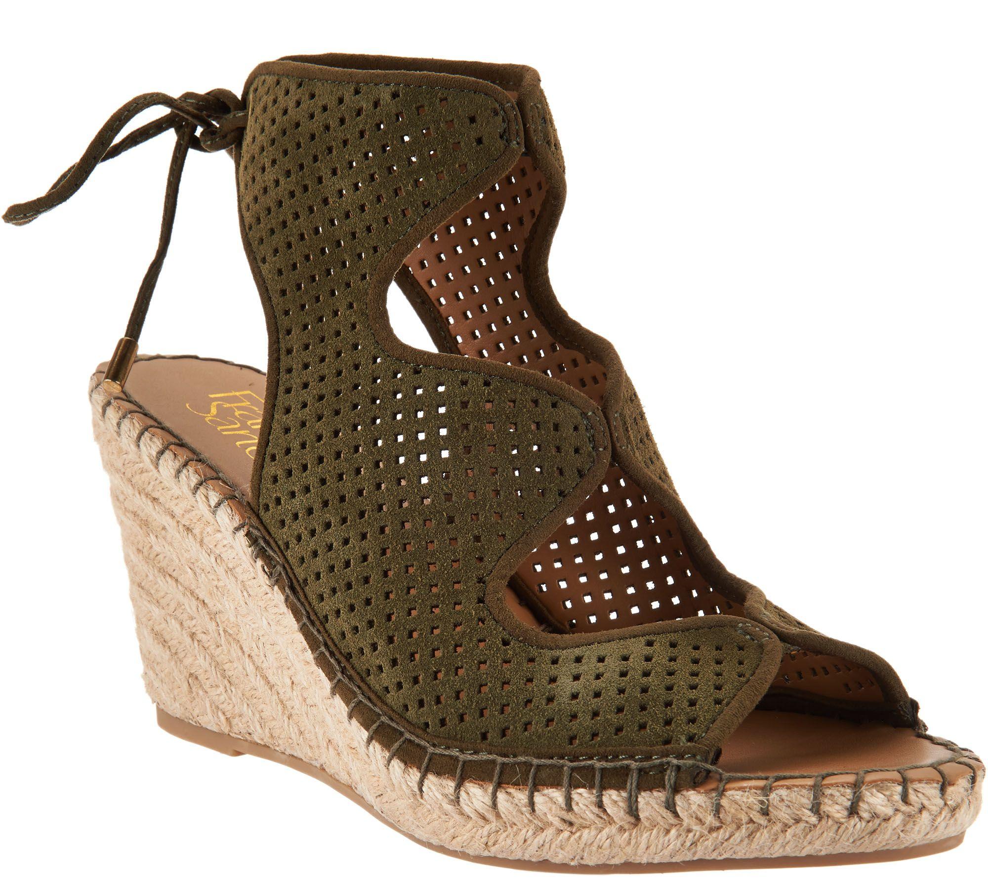 Black dress sandals medium heel - Franco Sarto Perforated Suede Espadrille Wedges Nash A290986