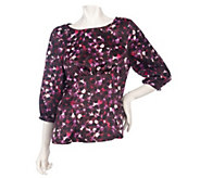 As Is Kelly by Clinton Kelly Jewel Neck Gathered Blouse - A291386