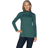 LOGO Layers by Lori Goldstein Rib Knit Mock Neck Long Sleeve Top - A294686