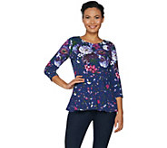 Isaac Mizrahi Live! Engineered Floral Knit Peplum Top - A297286