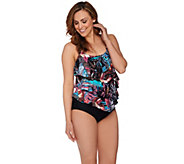 As Is St. Tropez Baja Summer Tiered One Piece Swimsuit - A297586