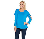 H by Halston Scoop Neck Knit Top with Cut-Away Flounce Sleeves - A303186