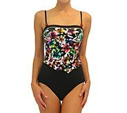 Fit 4 Ur Tummy Double V Tank One-Piece Bathing Suit - A362986