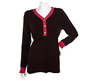 Citiknits Long Sleeve Empire Waist V-neck Tunic w/ Colorblock Trim - A82586