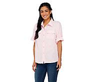 Susan Graver Peachskin Solid Roll Tab Shirt - A87186