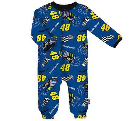 Nascar jimmie johnson one piece pajamas newborn 3 9 months qvc