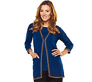 Joan Rivers 3/4 Sleeve Cardigan with Chain Detail - A217987