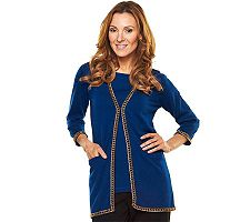 Joan Rivers 3/4 Sleeve Cardigan with Chain Detail