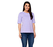 Denim & Co. Perfect Jersey Elbow Sleeve Polka Dot Print Round Neck Top - A221887