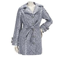 Dennis Basso Water Resistant Python Print Notch Collar Trench Coat