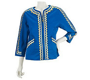 Bob Mackies Zip Front Ric Rac Embroidered Jacket - A224587
