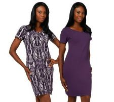 Women with Control Print & Solid Short Sleeve Set of Dresses