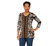 Susan Graver Printed Liquid Knit Tunic with Solid V-neck Trim - A230487
