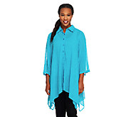 Linea by Louis DellOlio Asymmetric Hem Button Front Tunic w/ Collar - A233187