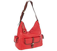 Isaac Mizrahi Live! Bridgehampton Leather Hobo with Pockets - A235087