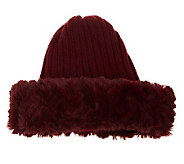 Dennis Basso Rib Knit Skull Cap with Faux Fur Trim - A236887