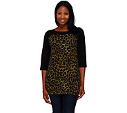 Denim & Co. Knit 3/4 Sleeve Animal Print Tunic - A237187