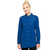 Susan Graver Stretch Crepe Button Front Shirt with Embellishments - A237687