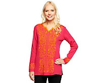 Susan Graver Sweater with Long Sleeves and Contrast Jacquard Design - A239787