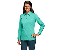 Liz Claiborne New York Button Front Shirt with Gathered Back - A240387