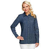 Denim & Co. Button Front Long Sleeve Dot Print Denim Shirt - A251687