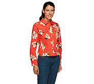 Isaac Mizrahi Live! Denim Jacket with Magnolia Floral Print - A255687