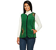 Bob Mackies Zip Front Embroidered Fleece Vest with Pockets - A258787