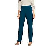 Susan Graver Chelsea Stretch Zip Front Pants w/Side Seam Detail - Petite - A259587