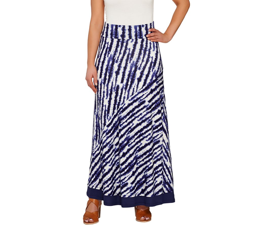 logo by lori goldstein pull on printed knit maxi skirt