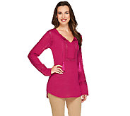 Kelly by Clinton Kelly Long Sleeve Top w/ Crochet Insert Detail - A266487