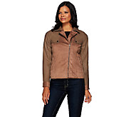 Lisa Rinna Collection Mixed Media Motorcycle Jacket - A267487