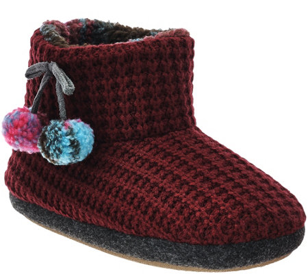 Cuddl Duds Fleece Lined Ankle Bootie Slippers With Foam Insole U2014 QVC.com