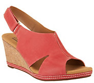 As Is Clarks Nubuck Wedge Sandals with Backstrap - Helio Float - A270087
