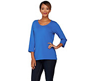 Denim & Co. Essentials U-Neck 3/4 Sleeve Top - A272087