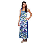 As Is Carole Hochman Sunset Blossoms Printed Inset Tank Gown - A272487