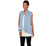 As Is LOGO Lounge by Lori Goldstein Drape Front Vest with Pockets - A273087