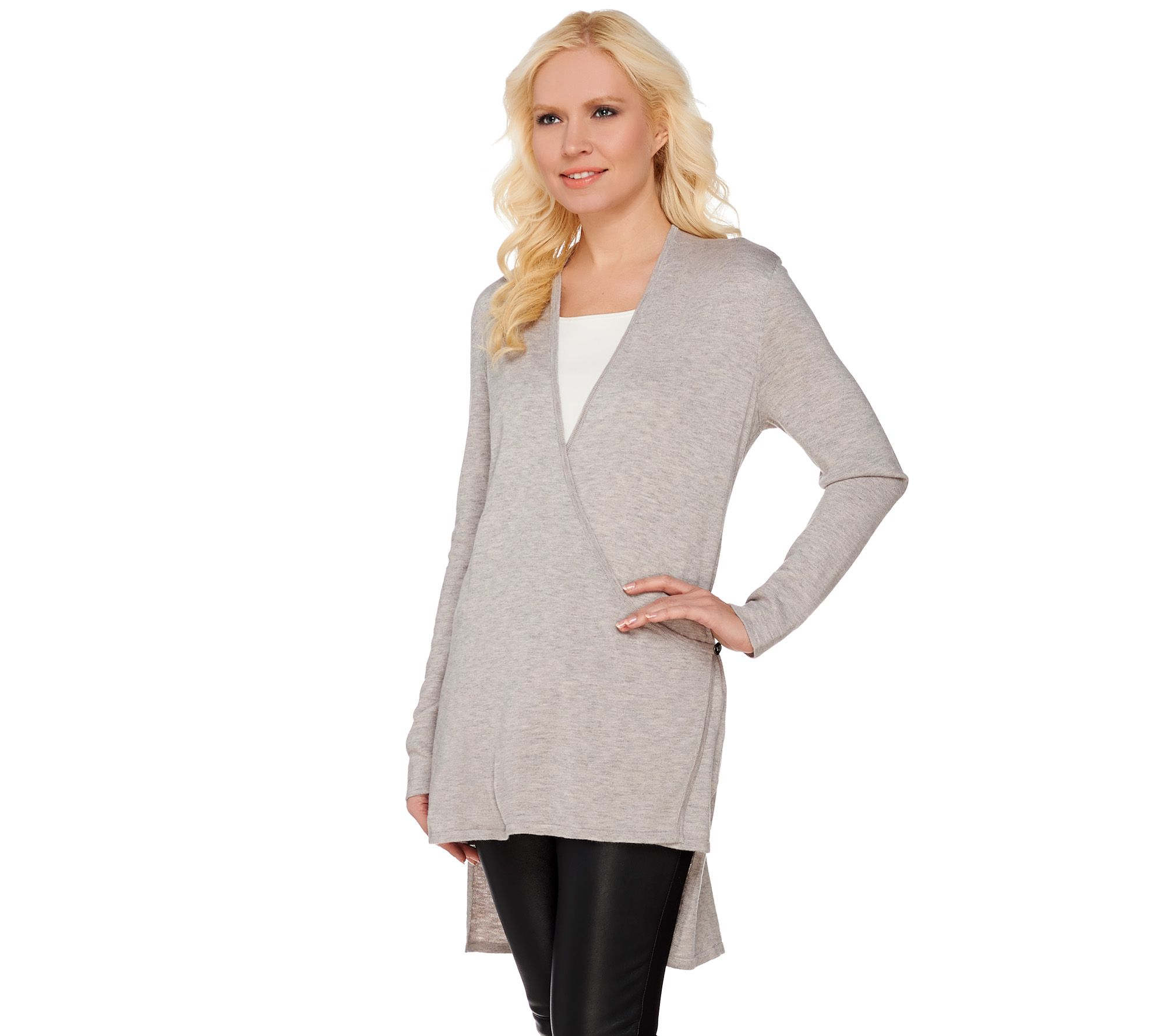 H by Halston Hi-Low Wrap Front Long Sleeve Cardigan