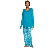 Carole Hochman Petite Abstract Hydrangea Rayon Spandex 3-Pc Lounge Set - A273587